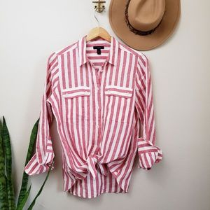 J. Crew Button-up shirt in striped linen Red White